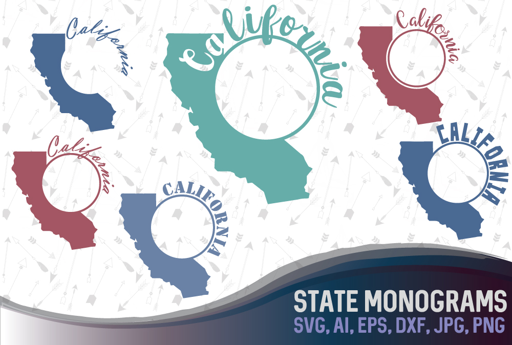 Download Free California State Monograms Graphic By Vector City Skyline for Cricut Explore, Silhouette and other cutting machines.