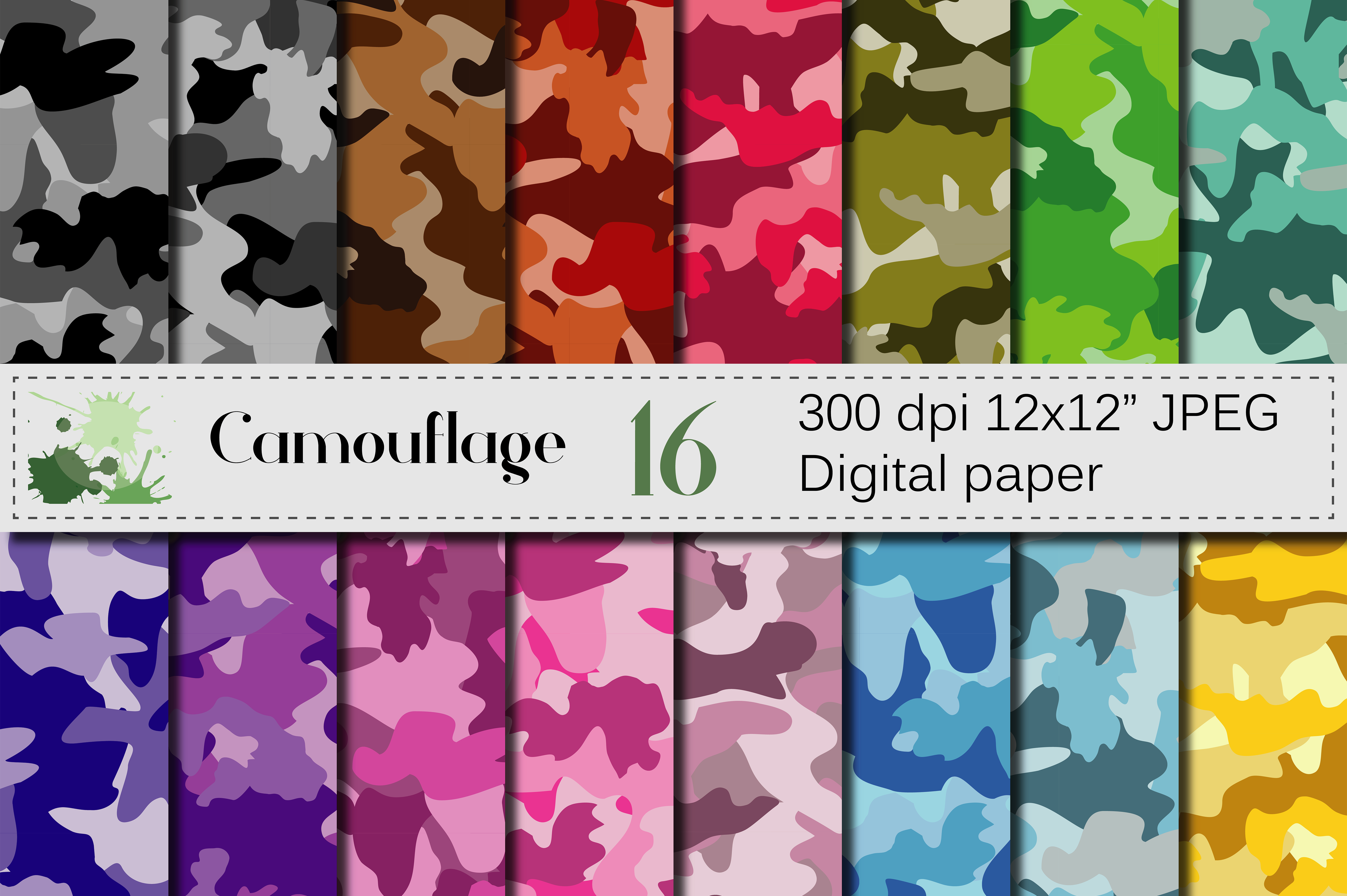 Camouflage Digital Paper Graphic Backgrounds By VR Digital Design