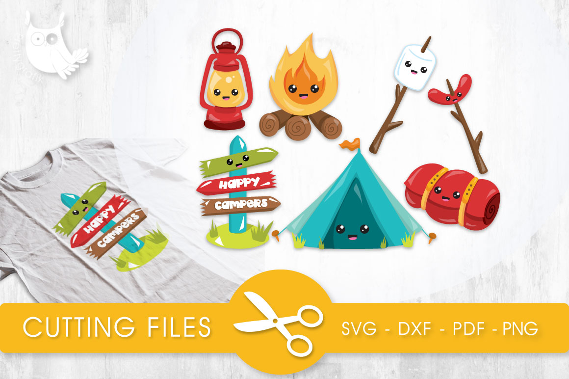 Download Free Camping Kawai Grafik Von Prettycuttables Creative Fabrica for Cricut Explore, Silhouette and other cutting machines.