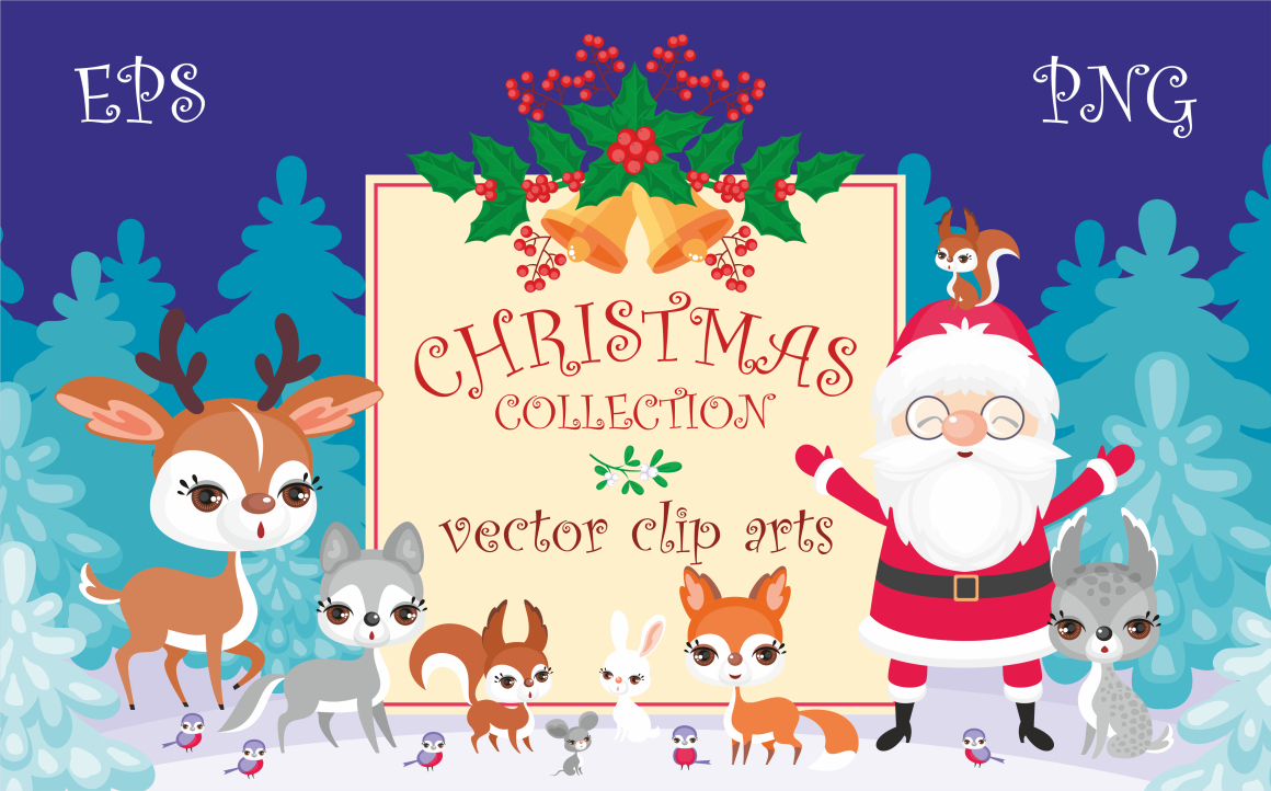 Print on Demand: Christmas Collection, Cute Animals and Santa Graphic Illustrations By Olga Belova