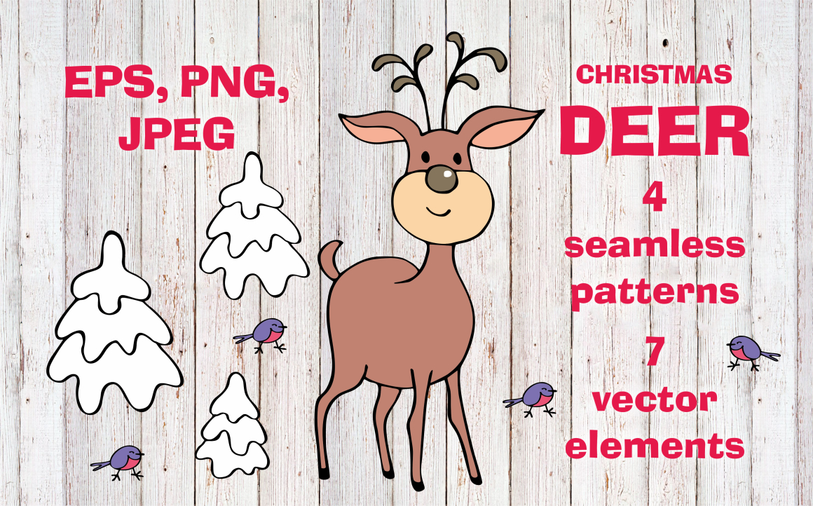 Christmas Deer. Vector Elements and Seamless Patterns Graphic By Olga Belova