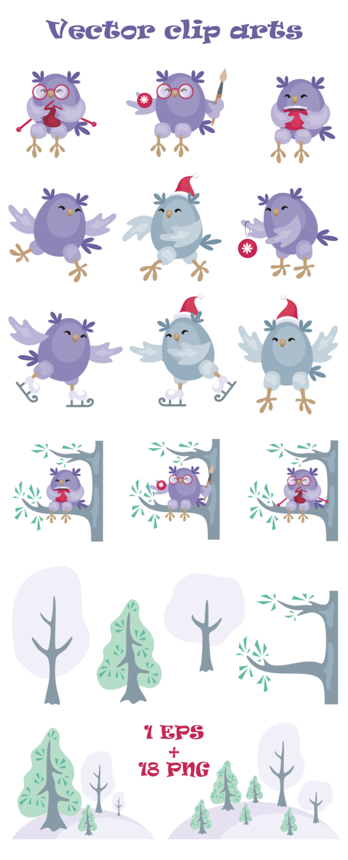 Print on Demand: Christmas Owls Vector Clip Arts Graphic Illustrations By Olga Belova - Image 2