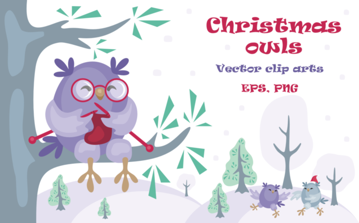 Print on Demand: Christmas Owls Vector Clip Arts Graphic Illustrations By Olga Belova