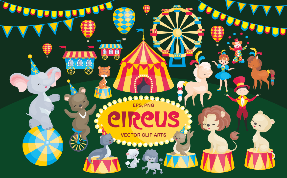 Print on Demand: Circus Vector Clip Arts Graphic Illustrations By Olga Belova