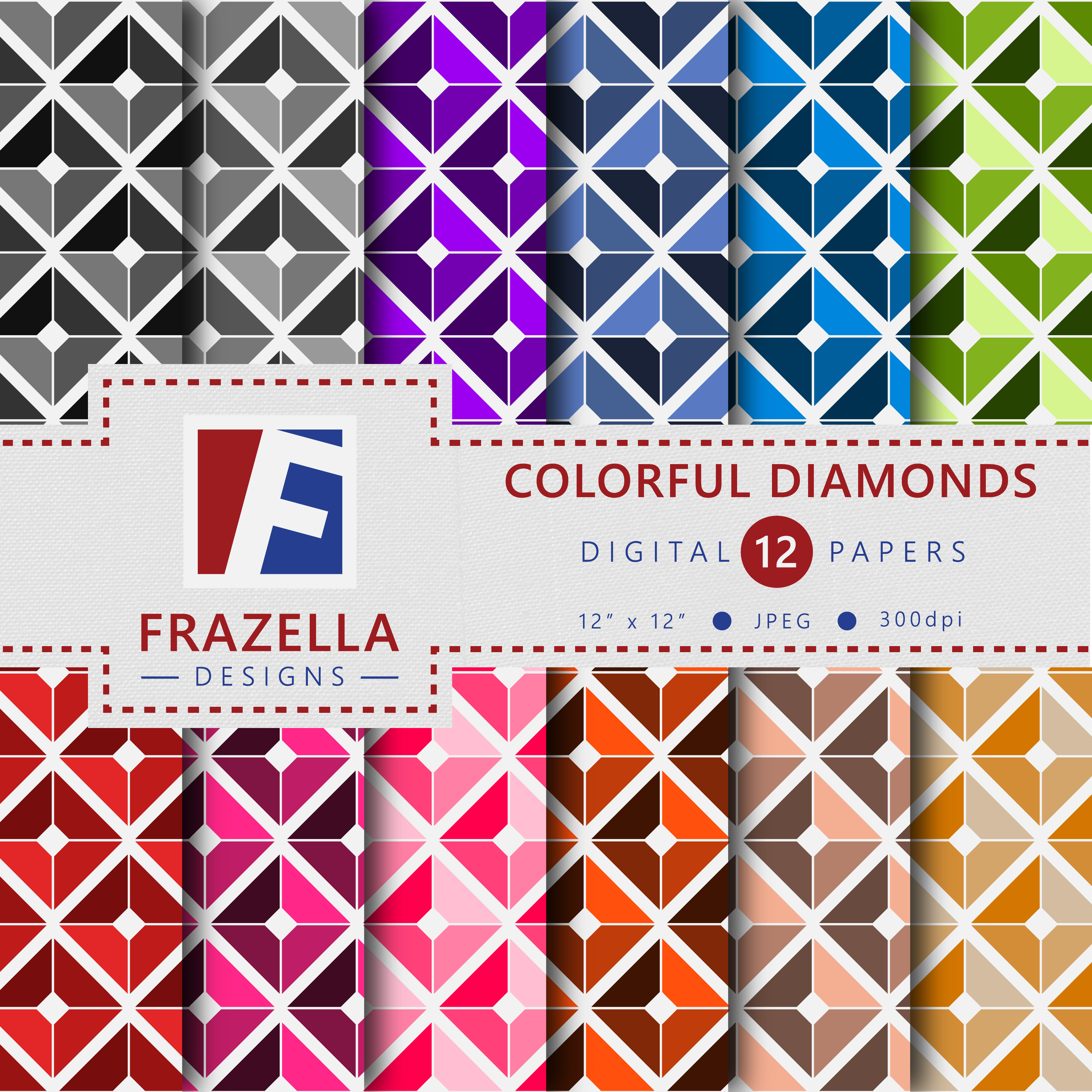 Download Free Colorful Diamonds Digital Paper Collection Graphic By Frazella for Cricut Explore, Silhouette and other cutting machines.