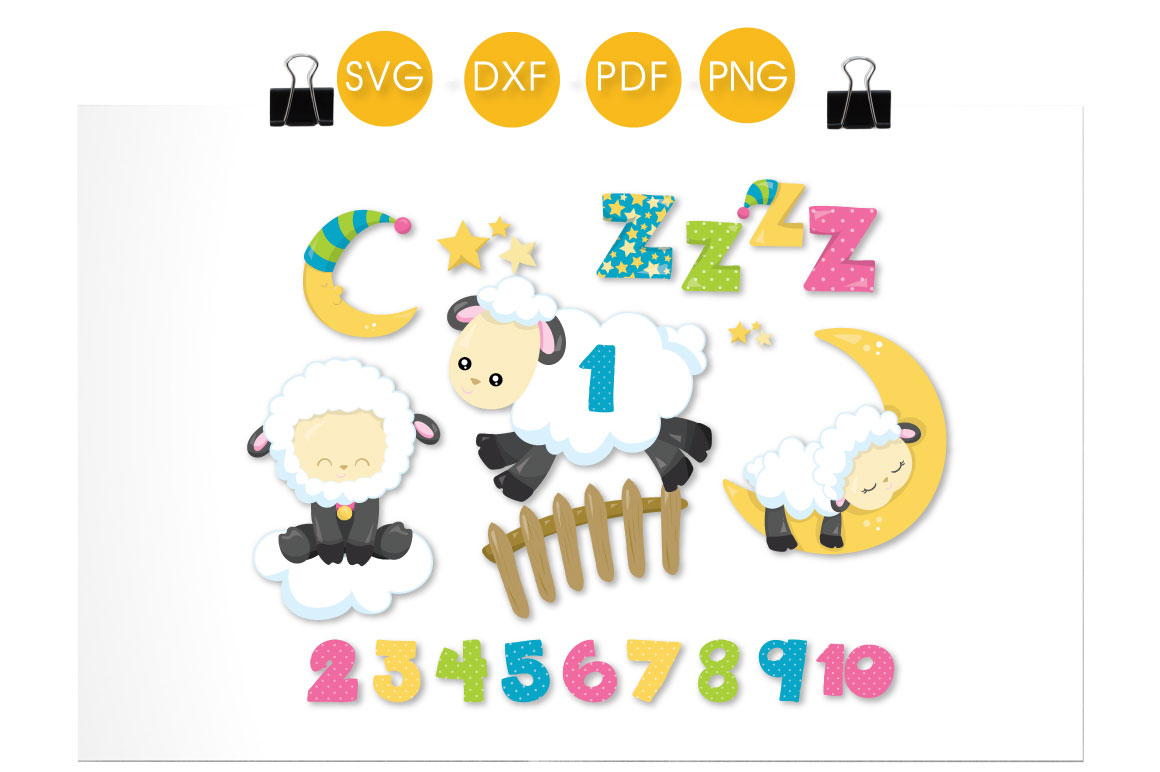 Counting Sheep Moon Graphic Download
