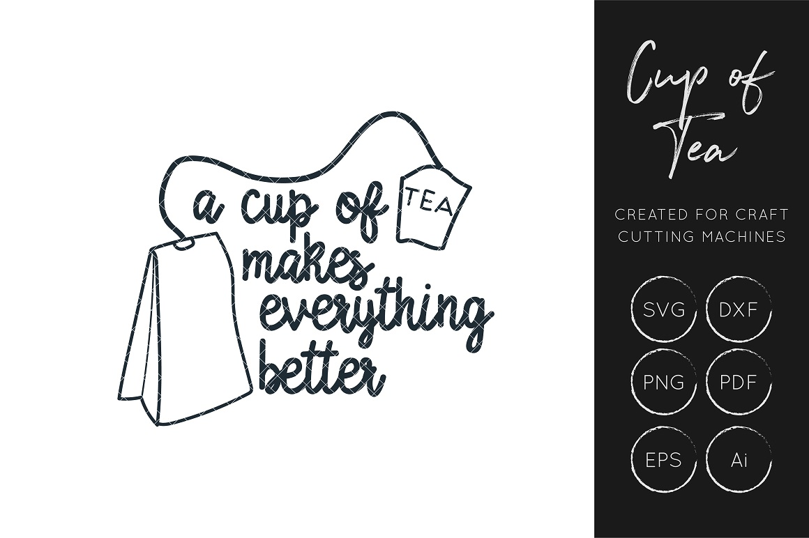 Download Free Cup Of Tea Svg Tea Quote Cut File Graphic By Illuztrate for Cricut Explore, Silhouette and other cutting machines.