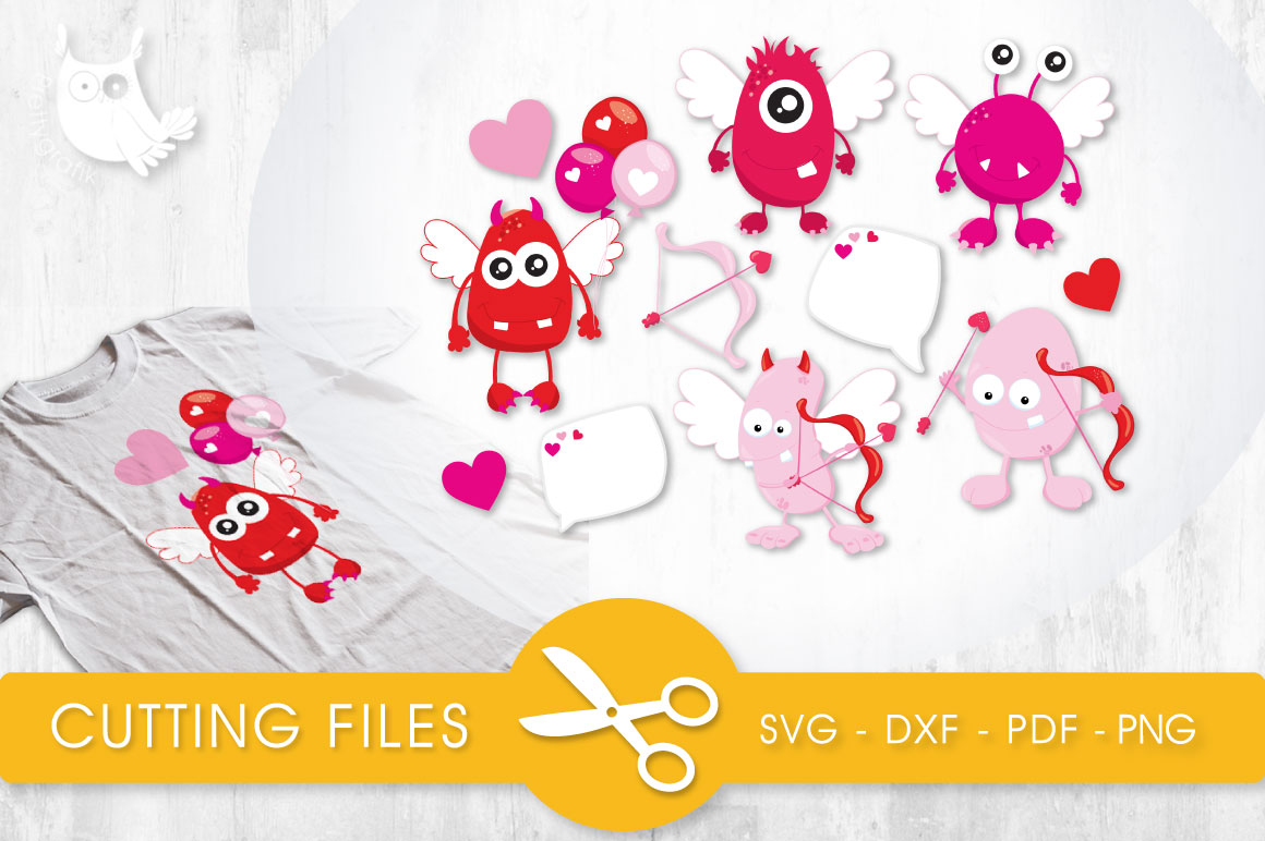 Cupid Monsters Graphic Crafts By PrettyCuttables
