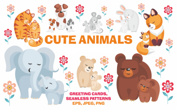 Cute Animals - Mothers & Cubs Graphic By Olga Belova