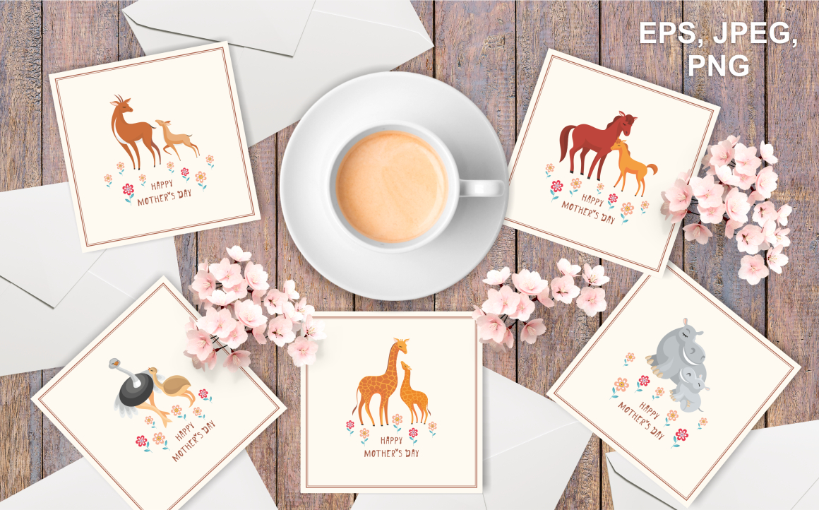 Print on Demand: Cute Animals Mother's Day Set Graphic Crafts By Olga Belova - Image 2