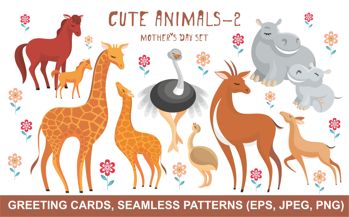 Print on Demand: Cute Animals Mother's Day Set Graphic Crafts By Olga Belova - Image 1