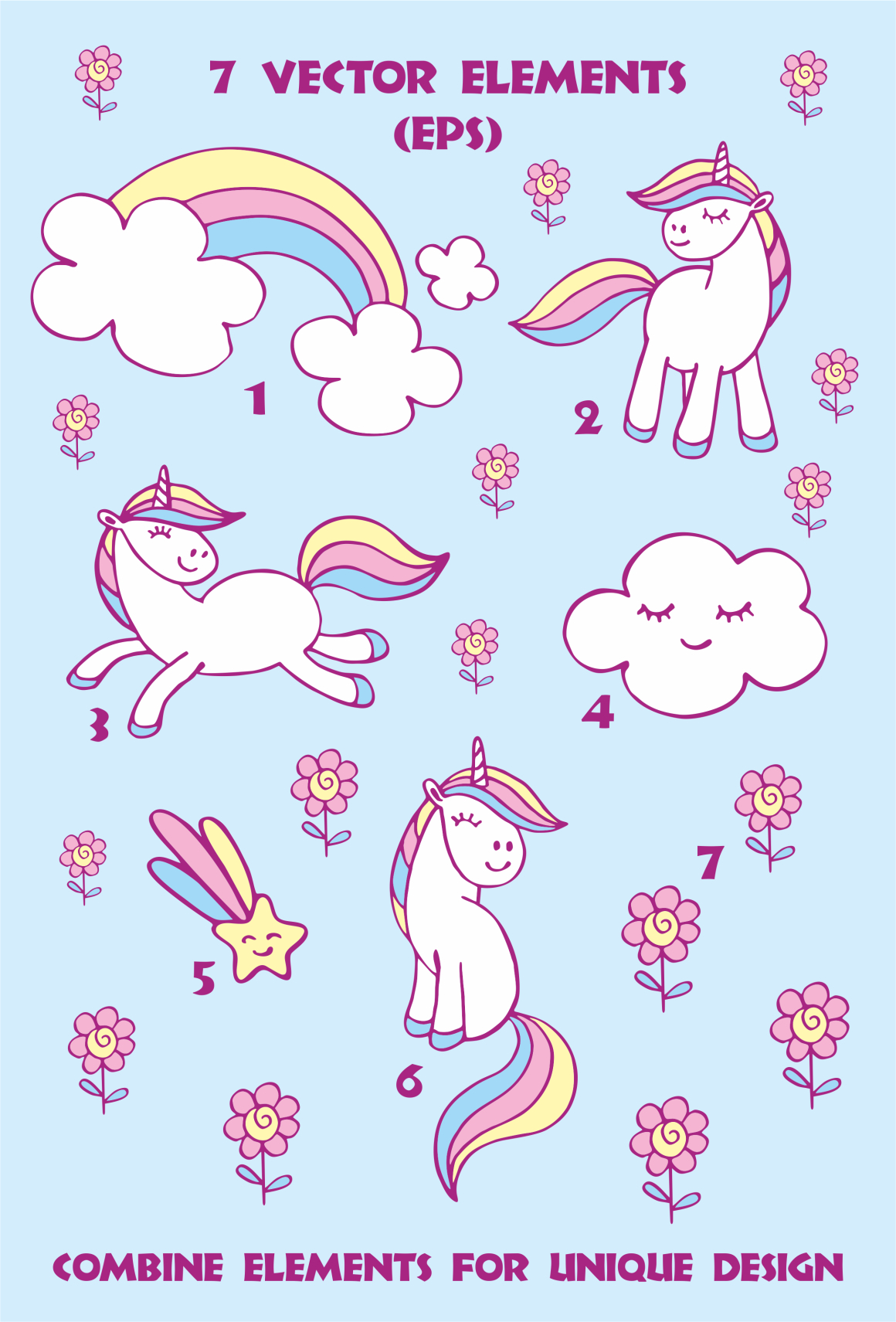 Print on Demand: Cute Unicorns Vector Elements and Patterns Graphic Illustrations By Olga Belova - Image 4