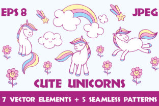 Cute Unicorns Vector Elements and Patterns Graphic By Olga Belova