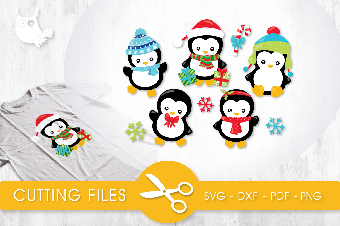 Download Free Cute Winter Penguins Graphic By Prettycuttables Creative Fabrica for Cricut Explore, Silhouette and other cutting machines.