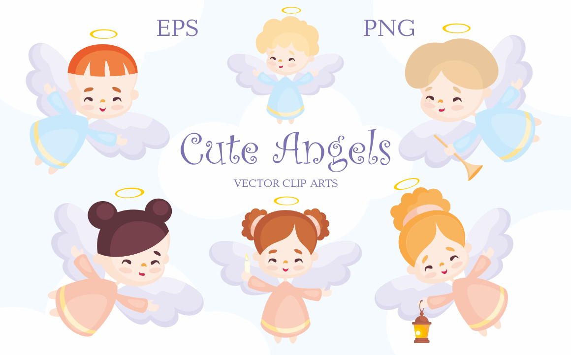 Print on Demand: Cute Angels. Vector Clip Arts Gráfico Ilustraciones Por Olga Belova