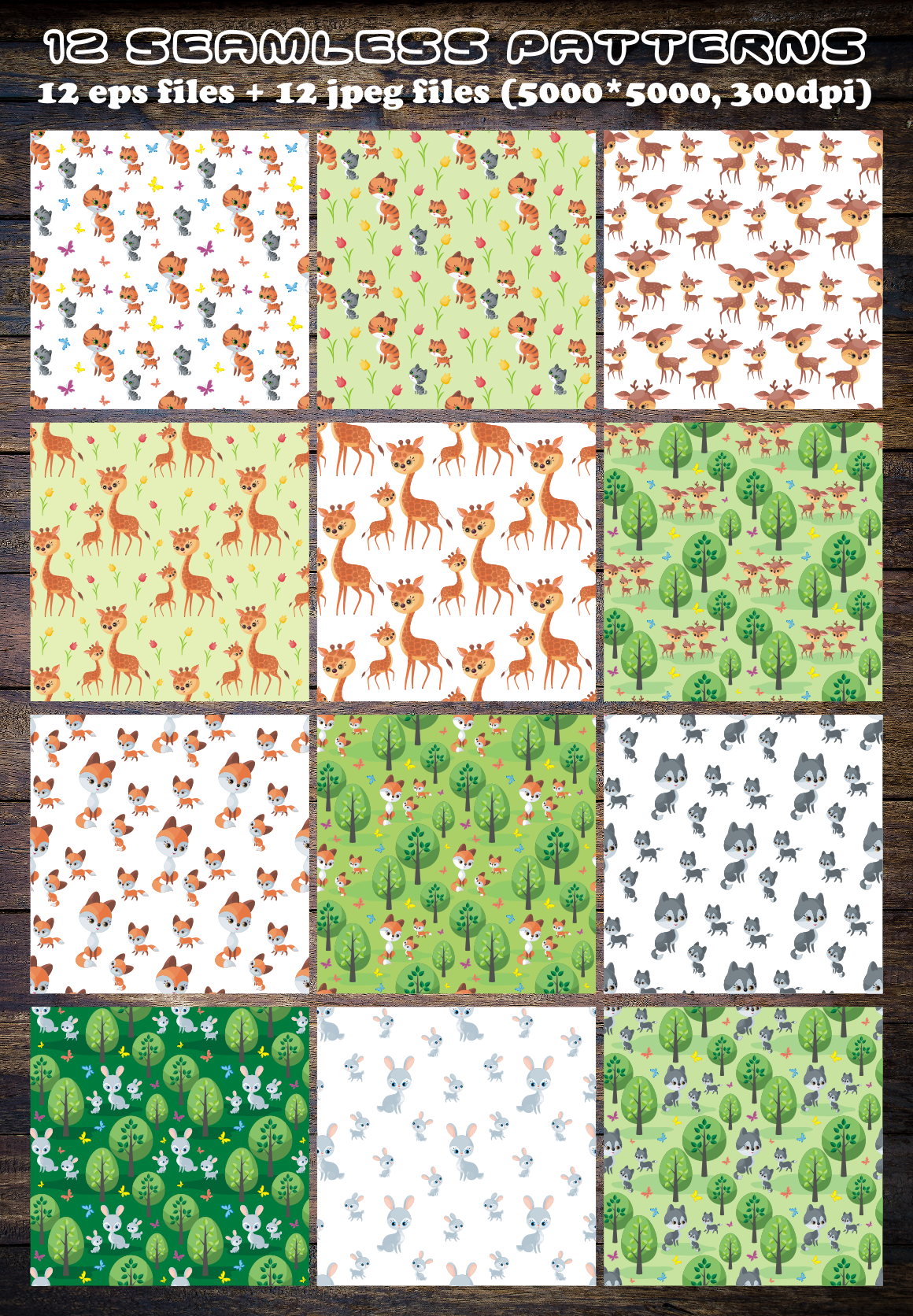 Cute Animals and Their Babies Seamless Patterns Graphic By Olga Belova Image 2