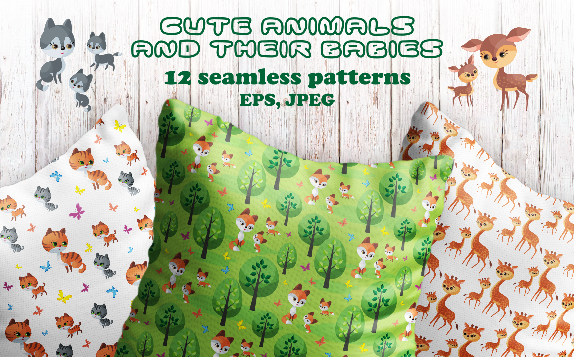 Print on Demand: Cute Animals and Their Babies Seamless Patterns Graphic Patterns By Olga Belova
