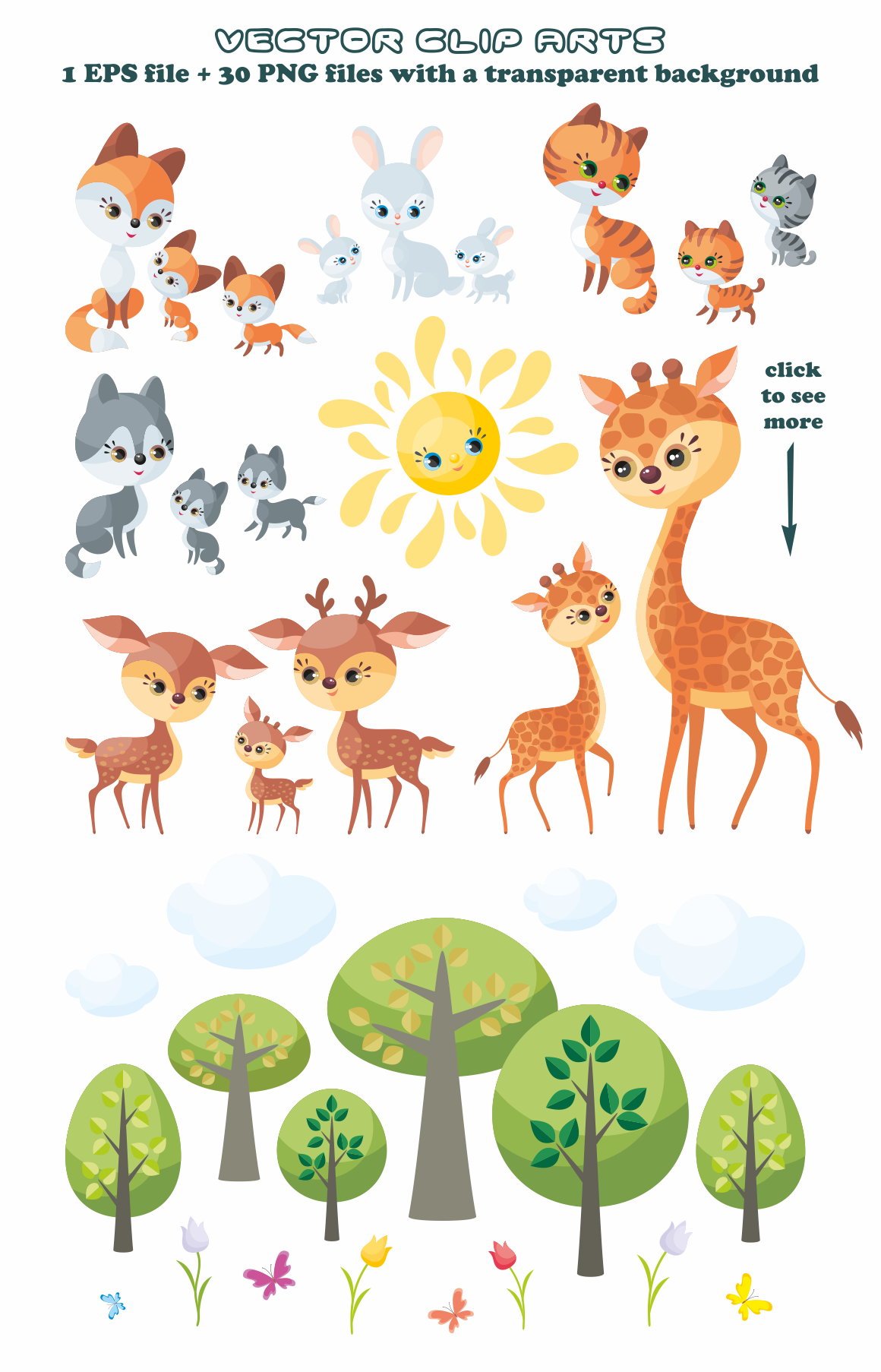 Print on Demand: Cute Animals and Their Babies Vector Clip Art Illustrations Graphic Illustrations By Olga Belova - Image 2
