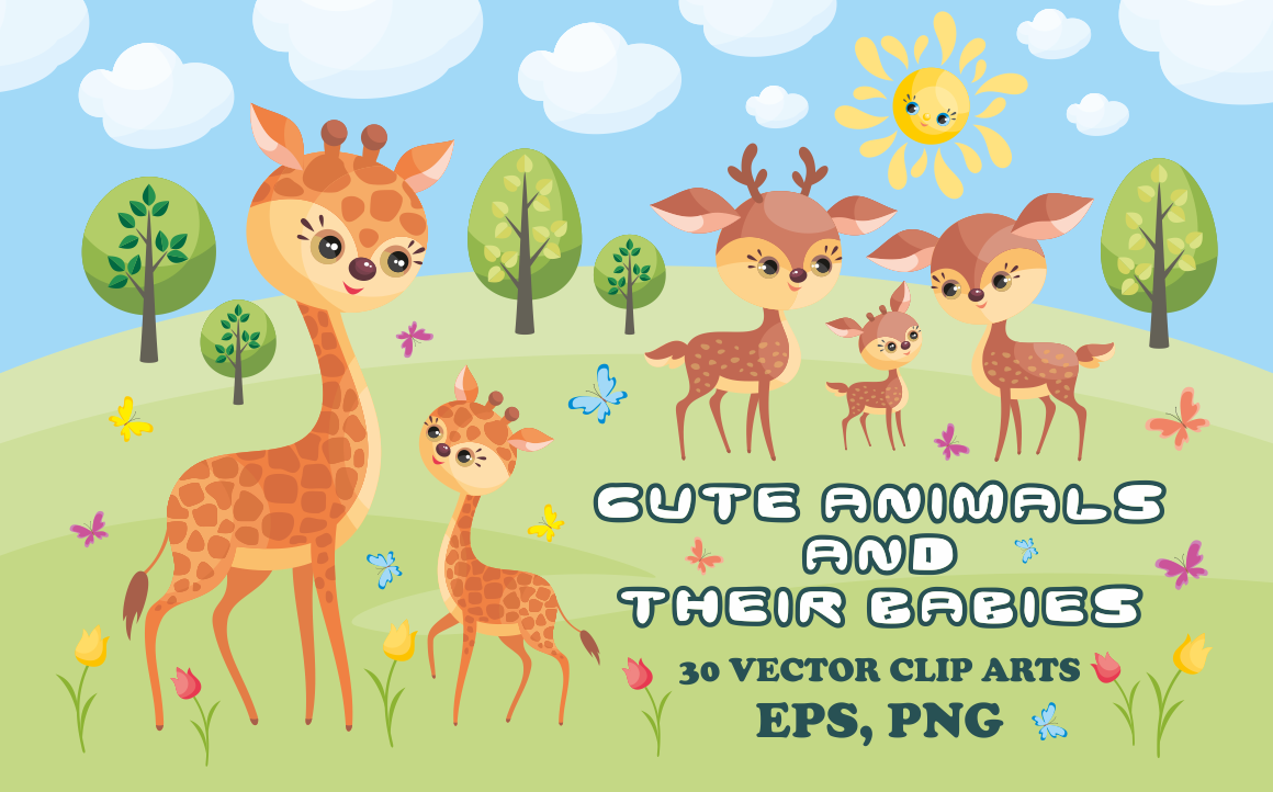 Download Free Cute Animals And Their Babies Vector Clip Art Illustrations for Cricut Explore, Silhouette and other cutting machines.