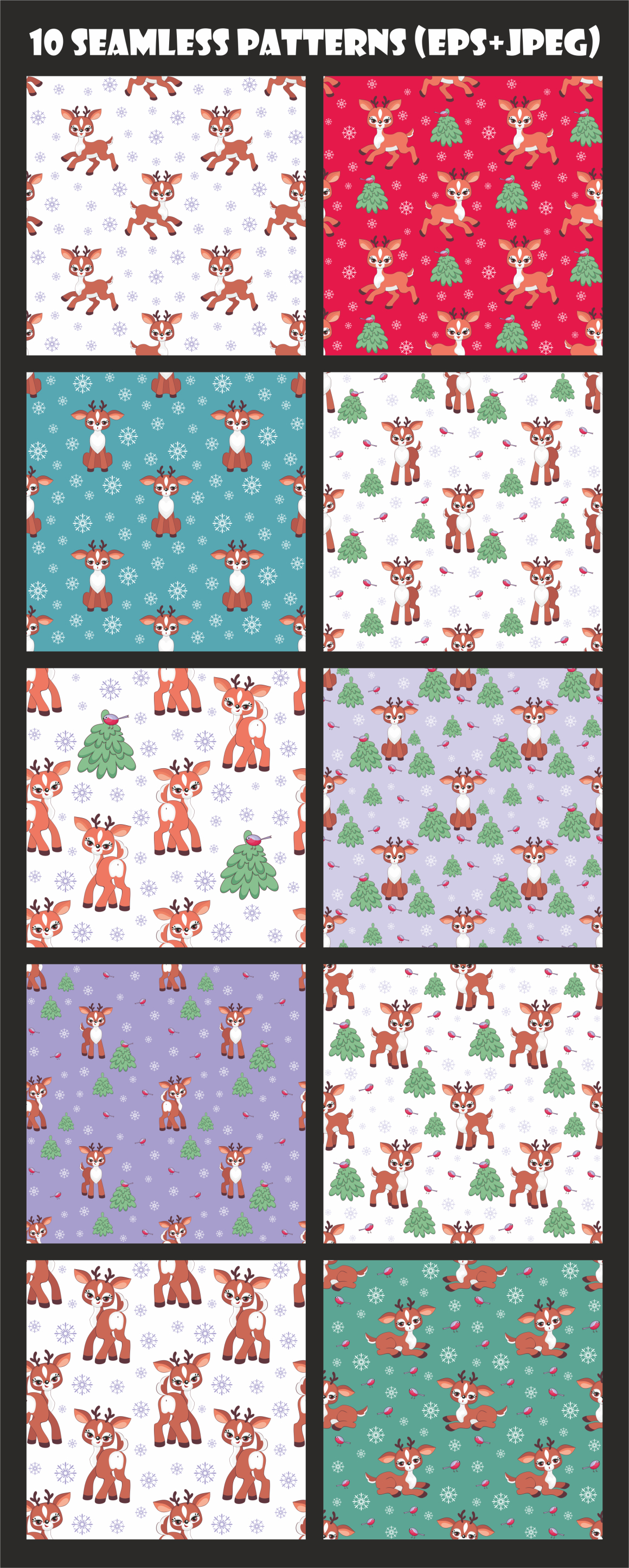 Cute Fawn. Set of Seamless Patterns Graphic By Olga Belova Image 2