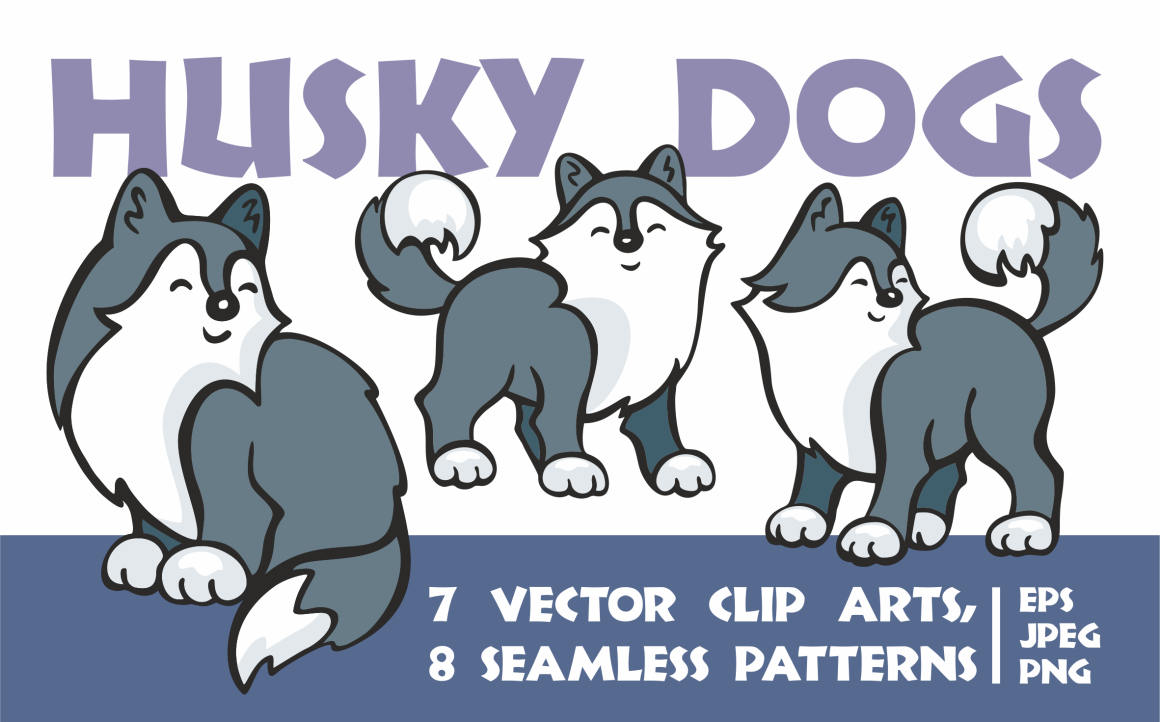 Cute Husky Dogs. Vector Clip Arts and Seamless Patterns. Graphic By Olga Belova