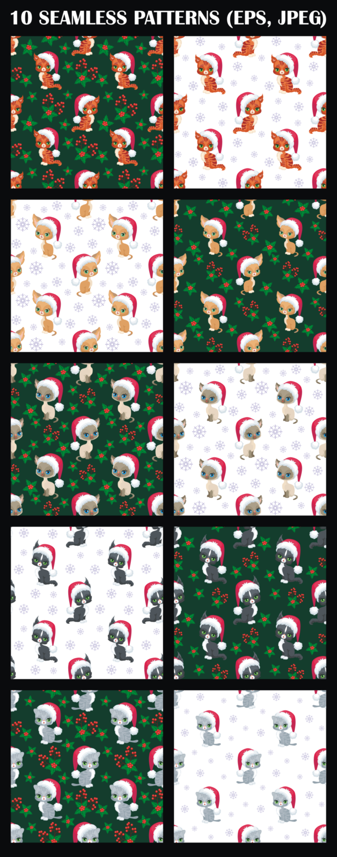 Print on Demand: Cute Kittens. Christmas Seamless Patterns. Graphic Patterns By Olga Belova - Image 2