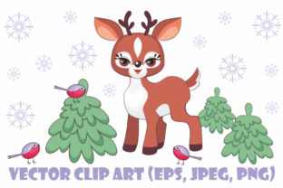 Cute Little Fawn. Vector Clip Art. Graphic By Olga Belova