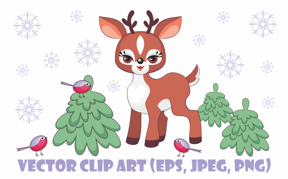 Print on Demand: Cute Little Fawn. Vector Clip Art. Graphic Illustrations By Olga Belova