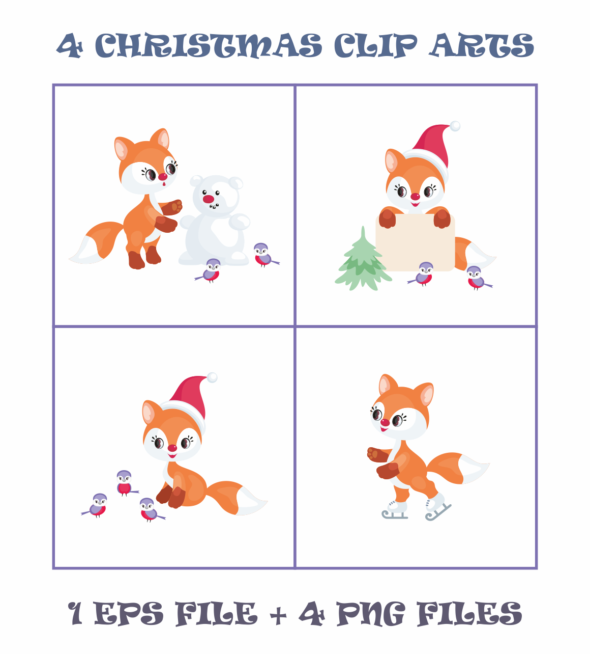 Print on Demand: Cute Little Fox. Christmas Clip Arts and Seamless Patterns Graphic Illustrations By Olga Belova - Image 2