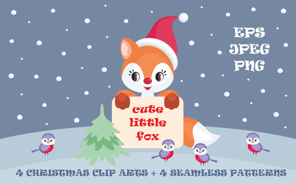 Cute Little Fox. Christmas Clip Arts and Seamless Patterns Graphic By Olga Belova
