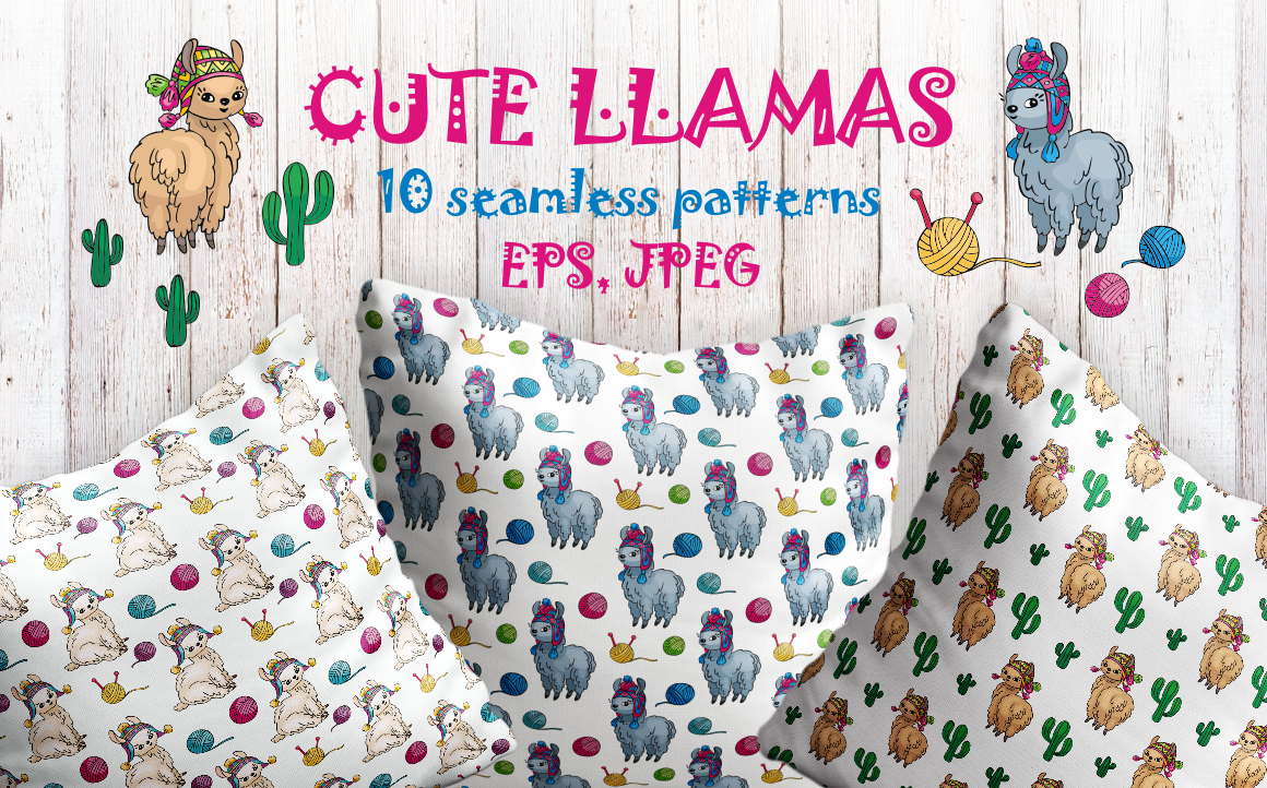 Print on Demand: Cute Llamas Doodles Seamless Patterns Graphic Patterns By Olga Belova