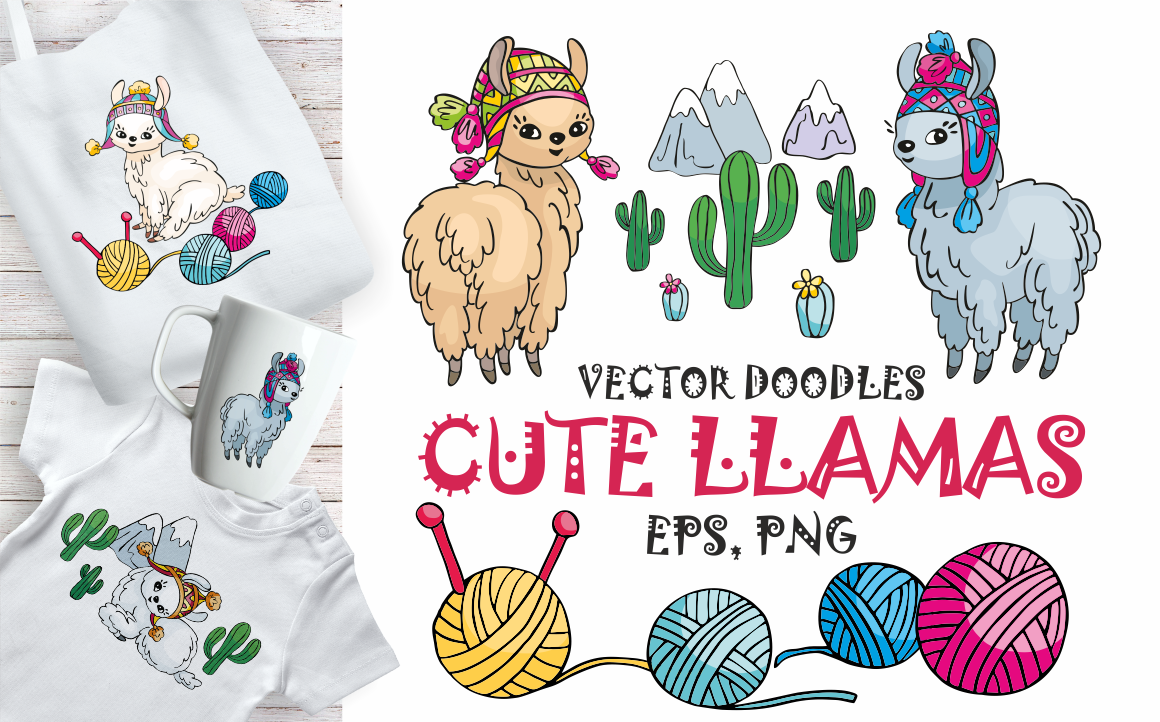 Print on Demand: Cute Llamas Vector Doodles Mini Set Graphic Illustrations By Olga Belova