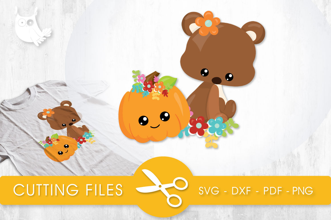 Cutesy Fall Bear Gráfico Crafts Por PrettyCuttables