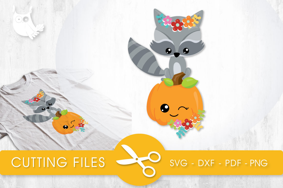 Cutesy Fall Raccoon Graphic Crafts By PrettyCuttables