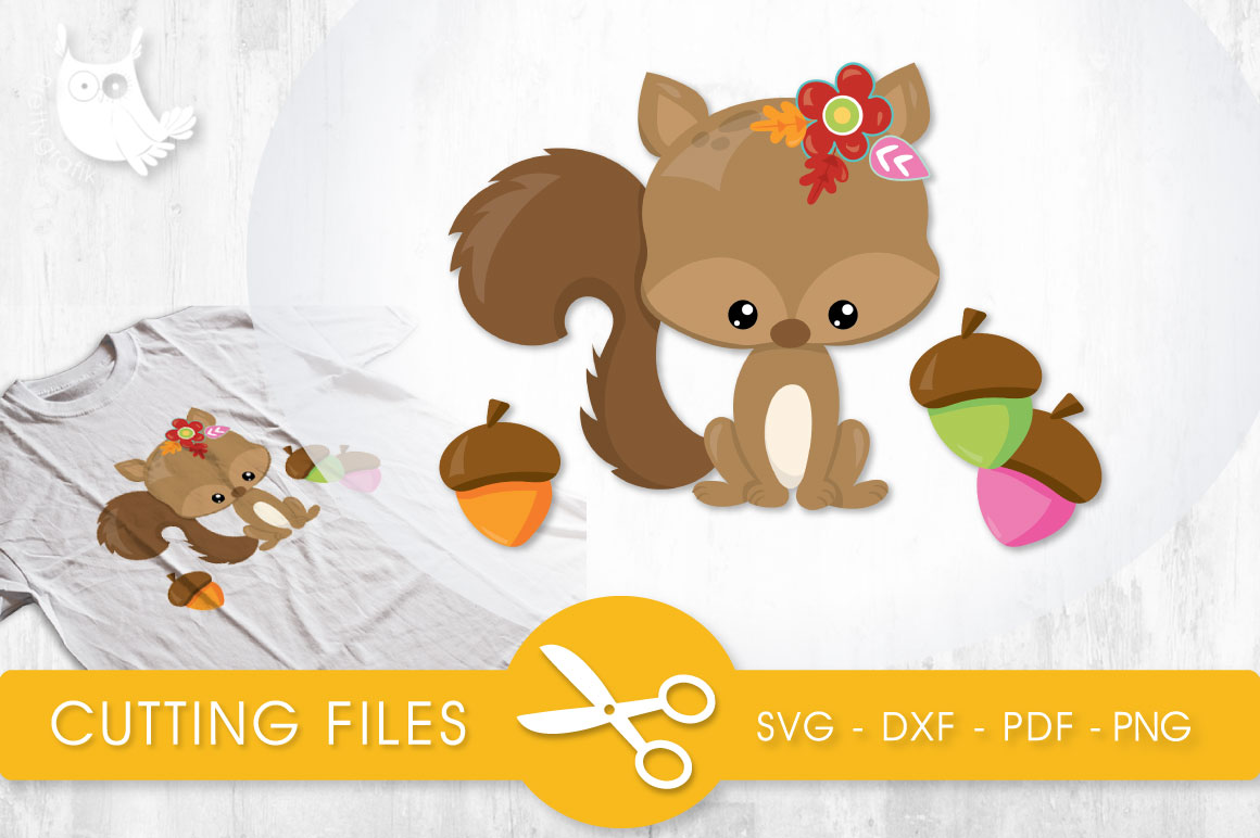 Download Free Cutesy Fall Squirrel Graphic By Prettycuttables Creative Fabrica for Cricut Explore, Silhouette and other cutting machines.