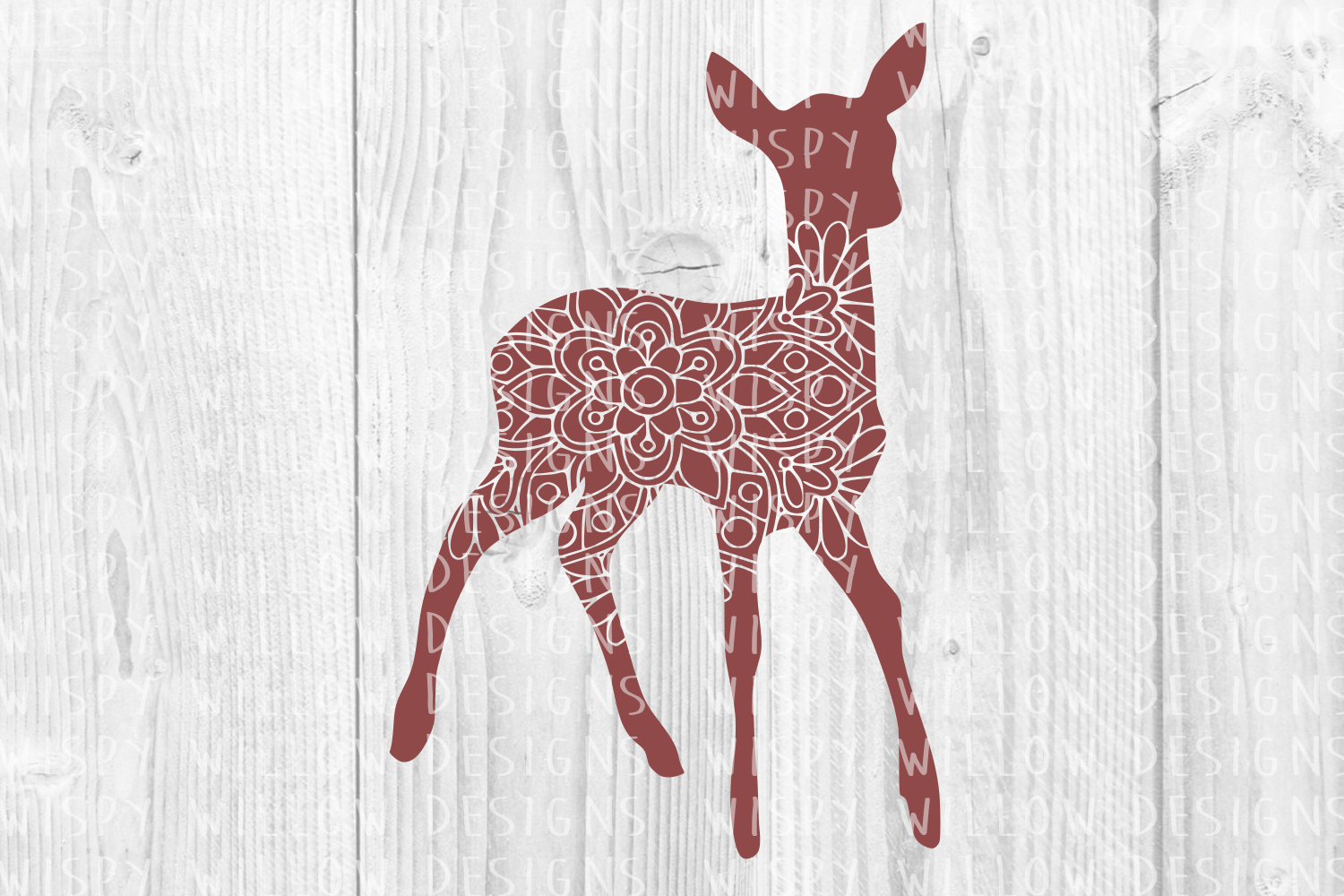 Deer Floral Mandala Animal Graphic Crafts By WispyWillowDesigns