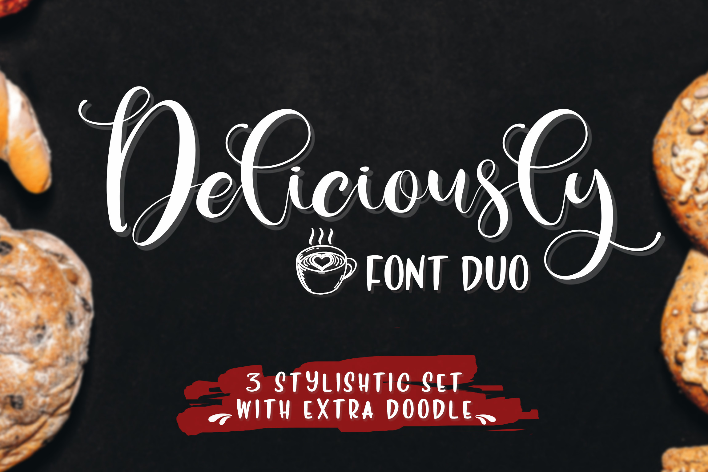 Print on Demand: Deliciously Font Duo Script & Handwritten Font By Din Studio