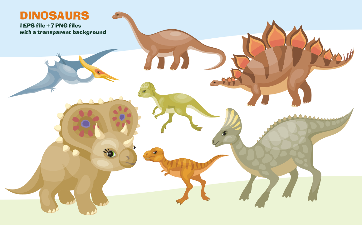Download Free Dinosaurs Vector Clip Art Illustration Graphic By Olga Belova for Cricut Explore, Silhouette and other cutting machines.