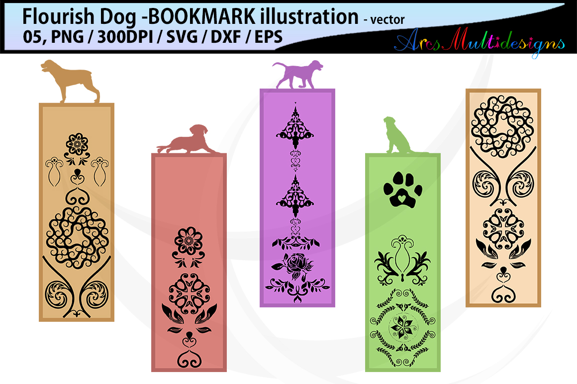 Download Free Dog Flourish Bookmark Clipart Illustration Graphic By Arcs for Cricut Explore, Silhouette and other cutting machines.