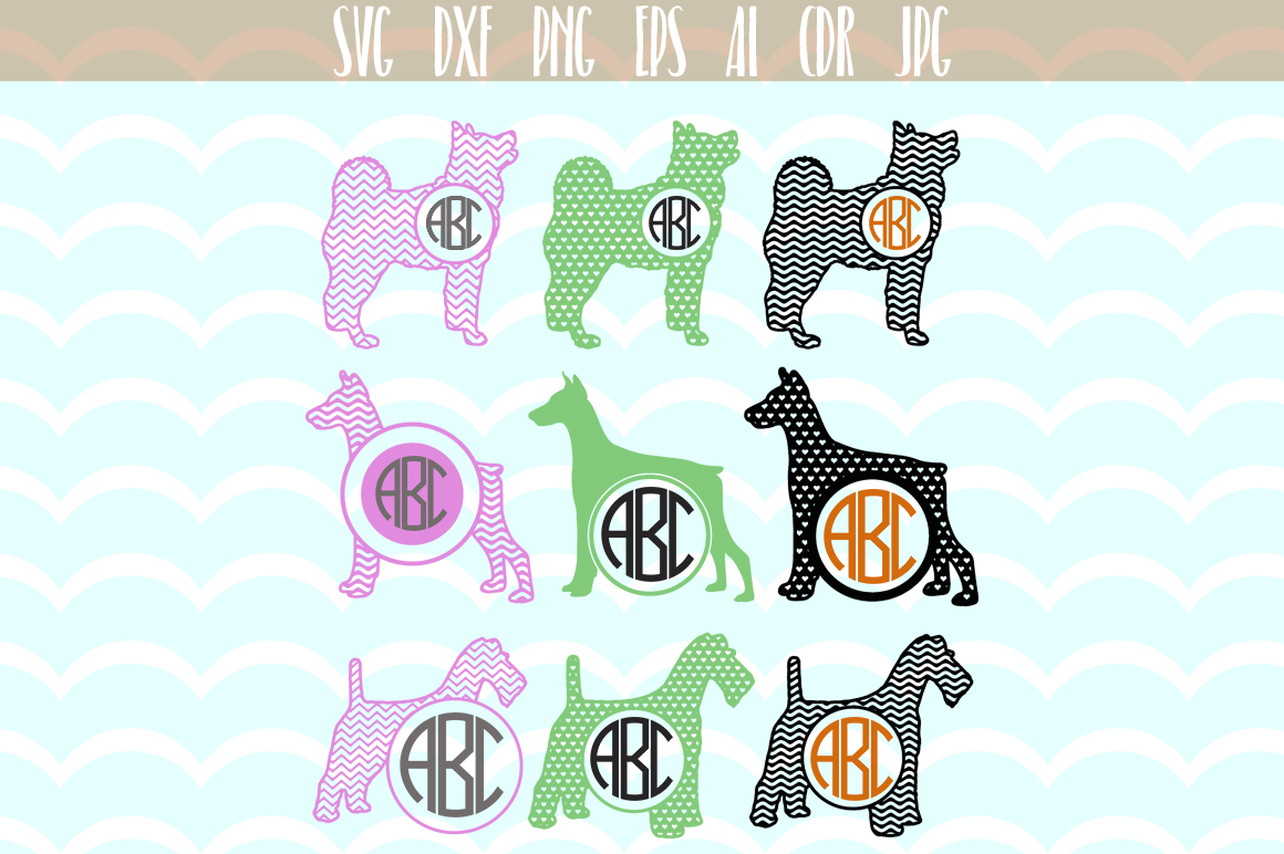 Download Free Dog Monogram Silhouette Silhouette Graphic By Vector City for Cricut Explore, Silhouette and other cutting machines.