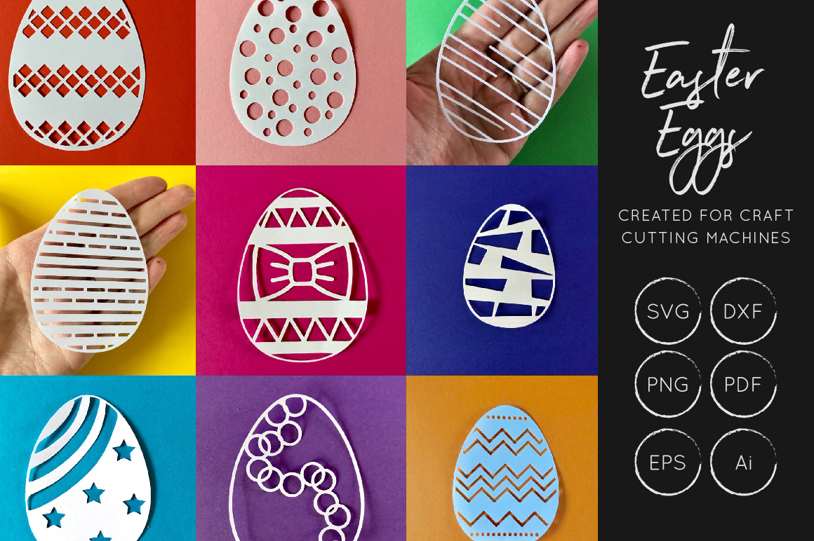 Download Free Easter Eggs Cut Files Graphic By Illuztrate Creative Fabrica for Cricut Explore, Silhouette and other cutting machines.