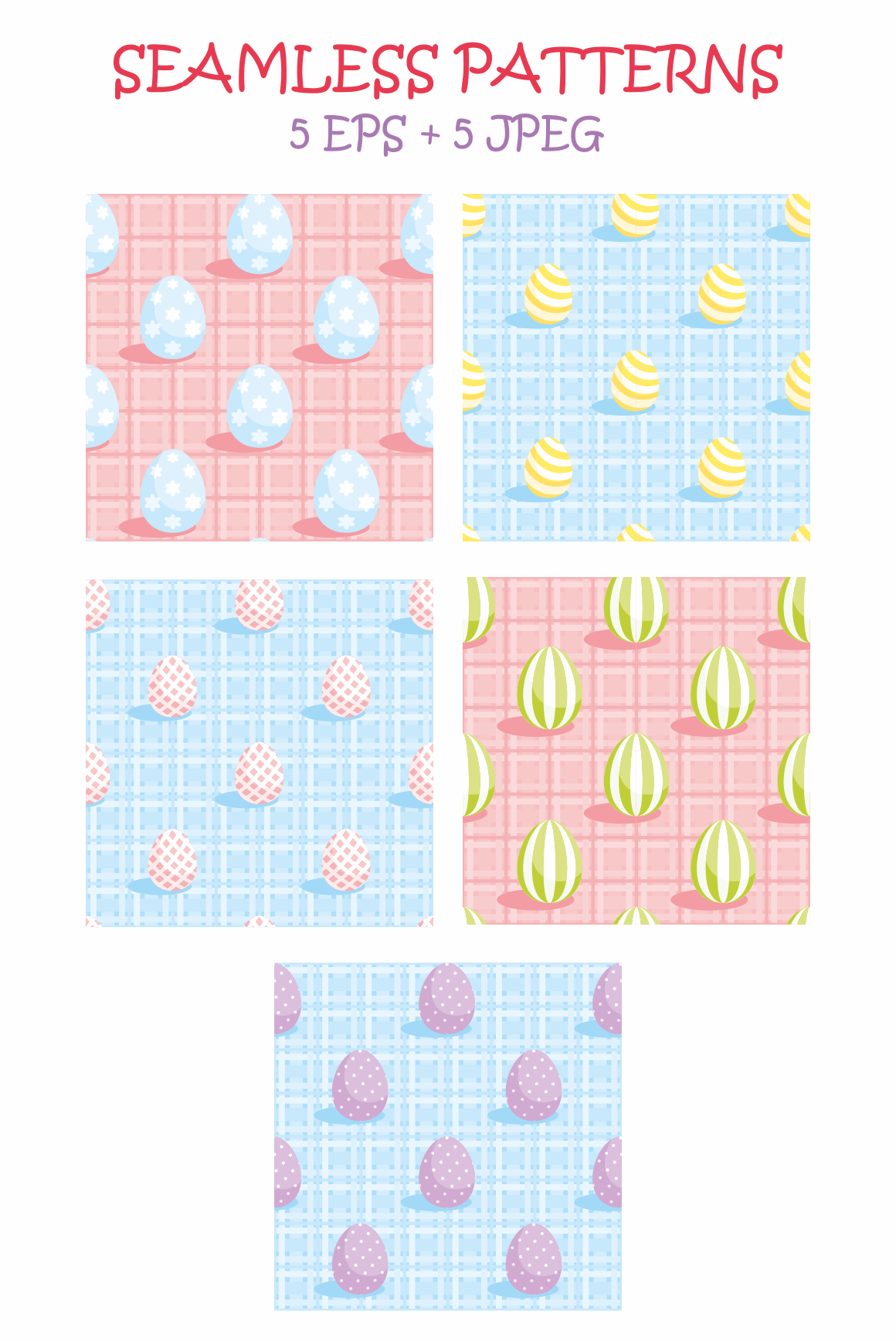 Print on Demand: Easter Bunnies Vector Clip Arts and Seamless Patterns Graphic Illustrations By Olga Belova - Image 3
