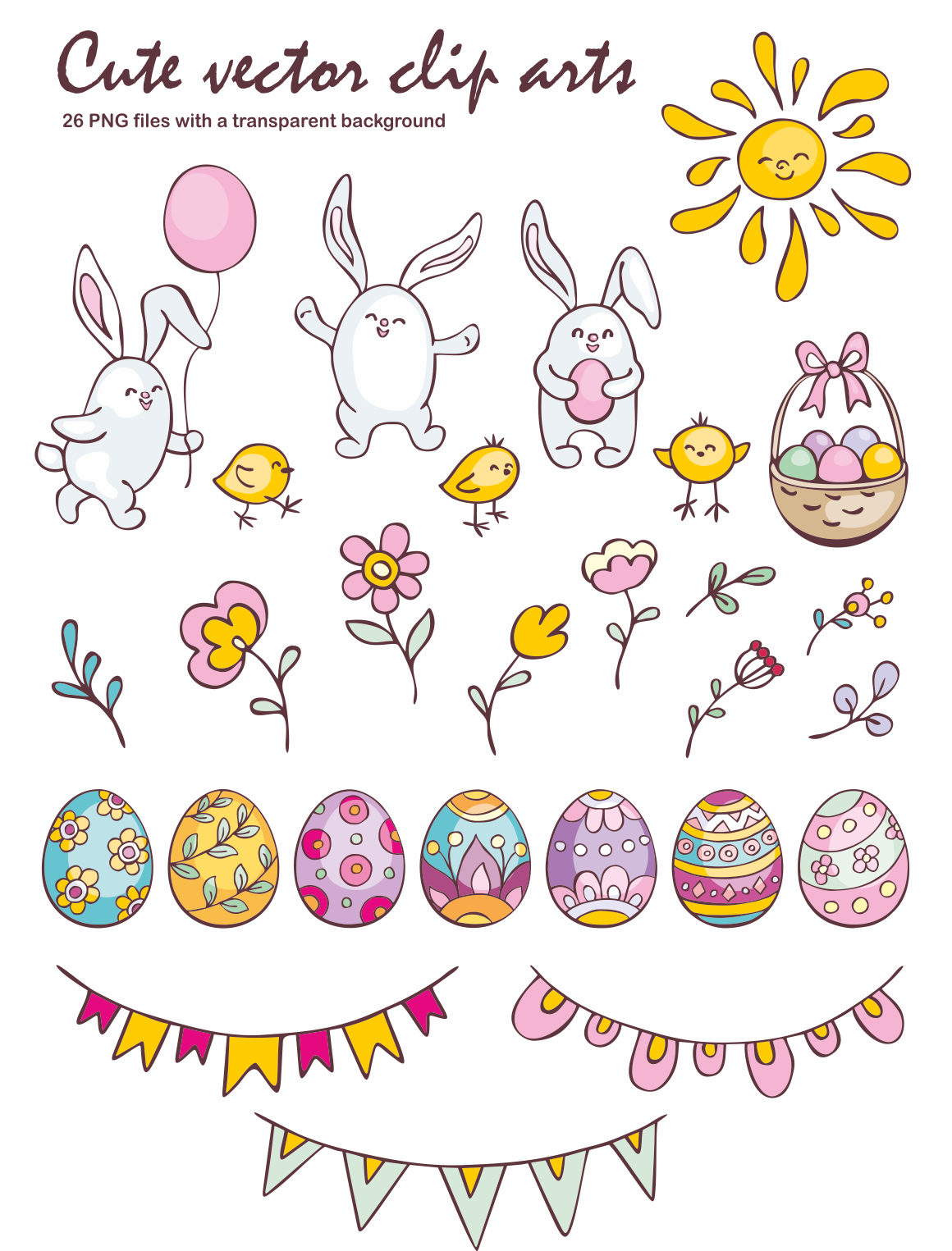 Print on Demand: Easter Doodles Set Vector Clip Arts and Seamless Patterns Graphic Illustrations By Olga Belova - Image 2