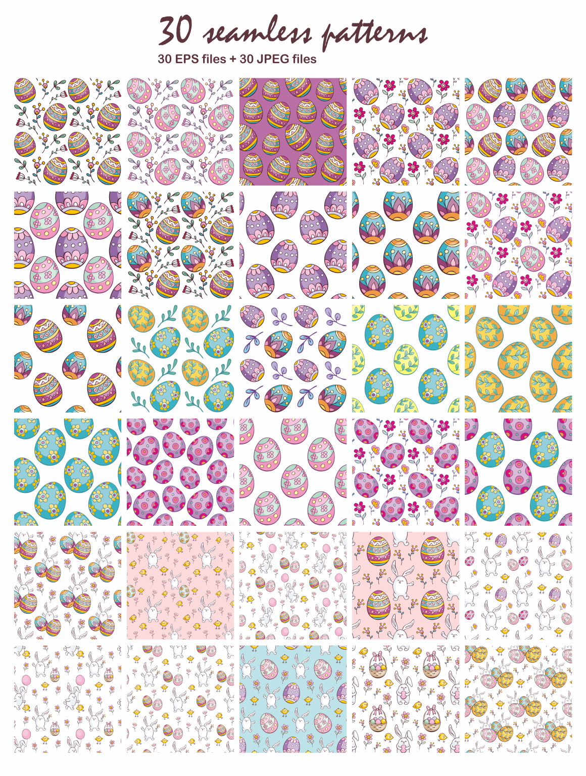 Print on Demand: Easter Doodles Set Vector Clip Arts and Seamless Patterns Graphic Illustrations By Olga Belova - Image 3