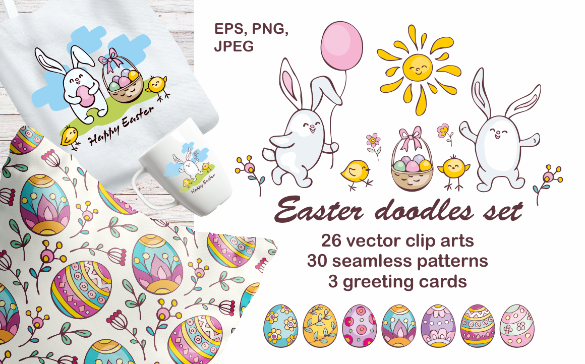 Print on Demand: Easter Doodles Set Vector Clip Arts and Seamless Patterns Graphic Illustrations By Olga Belova - Image 1