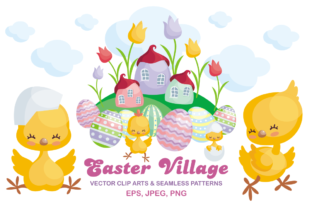 Download Free Easter Village Vector Clip Arts And Seamless Patterns Graphic By for Cricut Explore, Silhouette and other cutting machines.