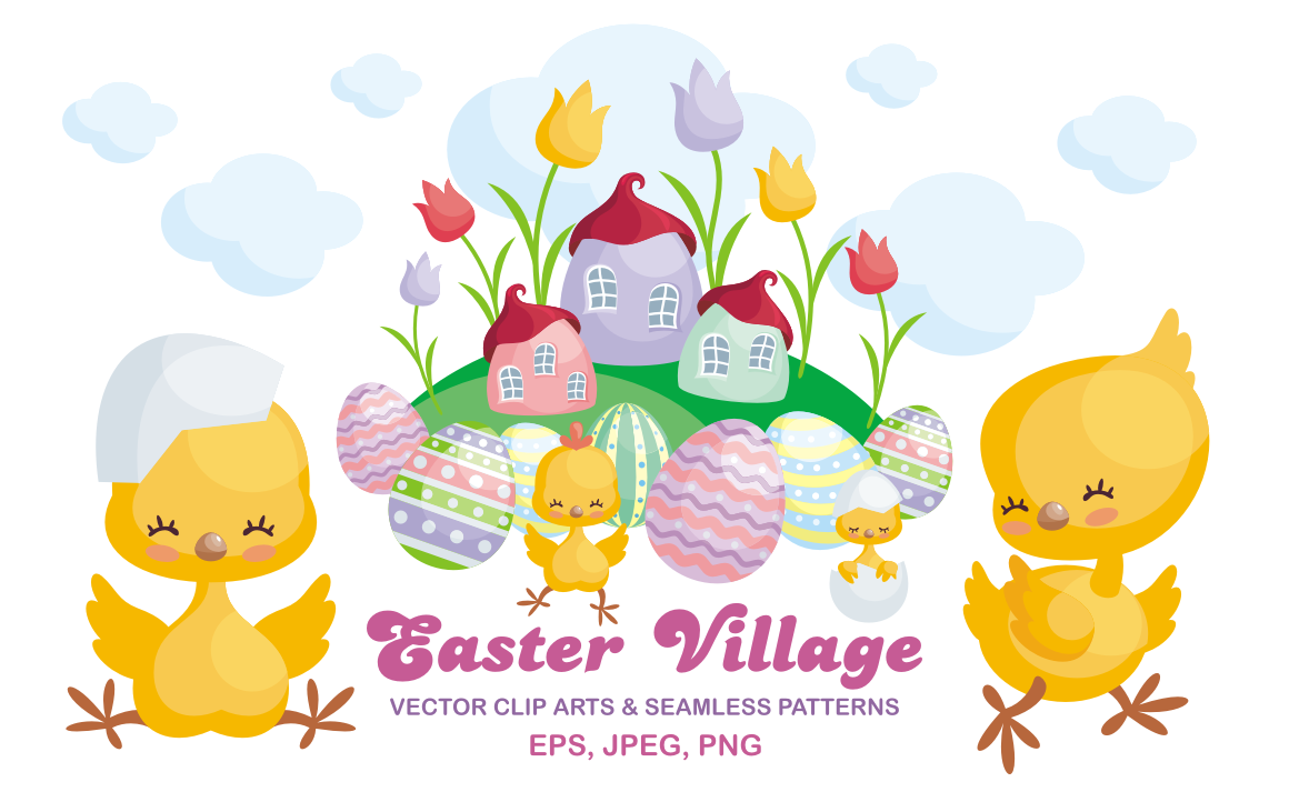 Print on Demand: Easter Village Vector Clip Arts and Seamless Patterns Graphic Illustrations By Olga Belova