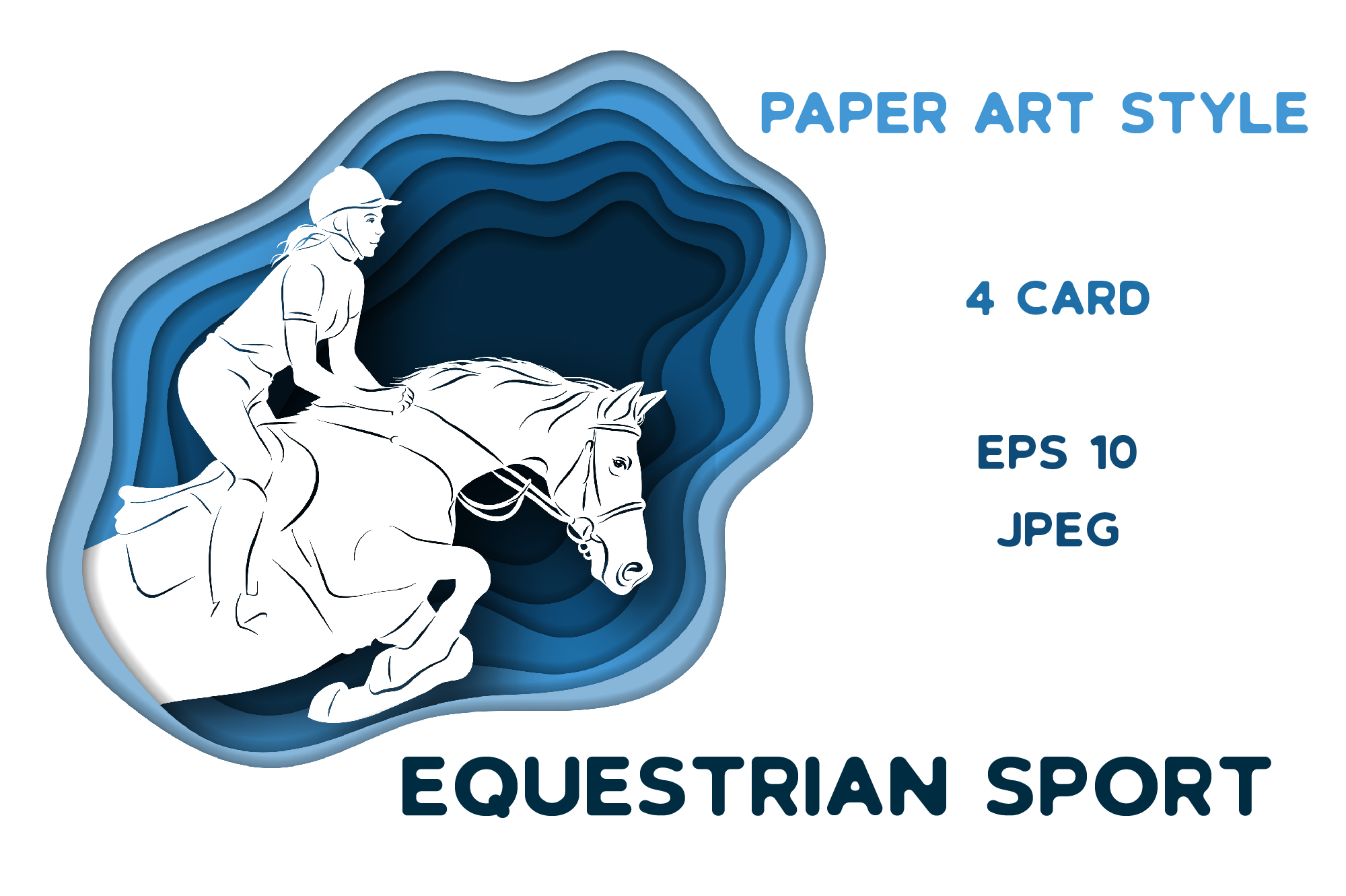 Print on Demand: Equestrian Sport – Vector Paper Art Style Graphic Illustrations By nicjulia
