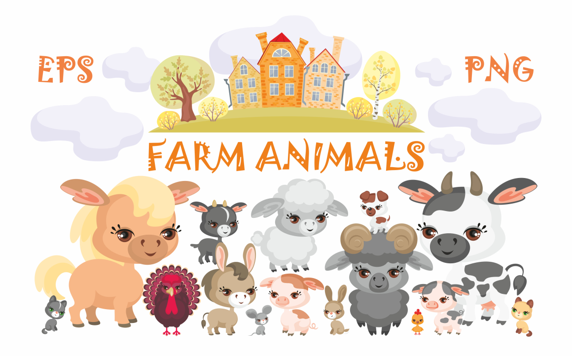 Print on Demand: Farm Animals Vector Clip Art Graphic Illustrations By Olga Belova