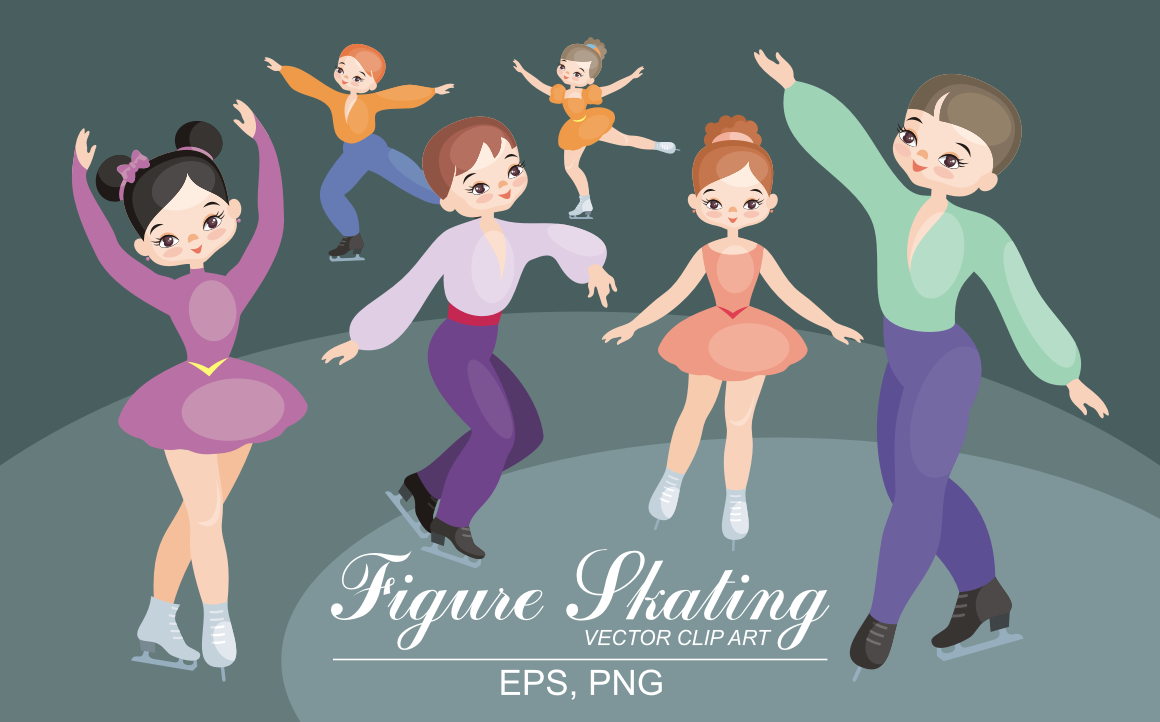 Print on Demand: Figure Skating Vector Clip Art Graphic Illustrations By Olga Belova